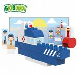 BiOBUDDi - Police boat - Eco Friendly Block Set - 28 Blocks